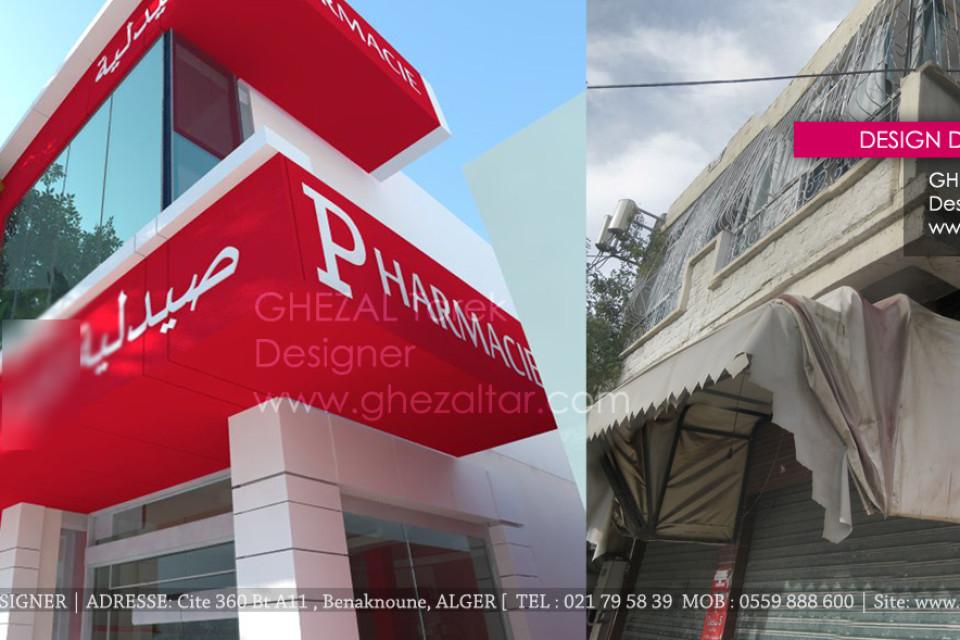 Design de facade de pharmacie