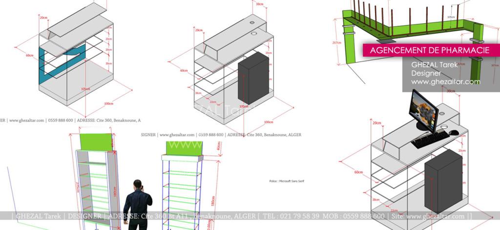 Design de comptoirsn étageres et mobiliers pour pharmacie
